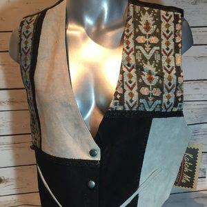 NWT Suede Leather Cowboy Western Ladies Vest XL J
